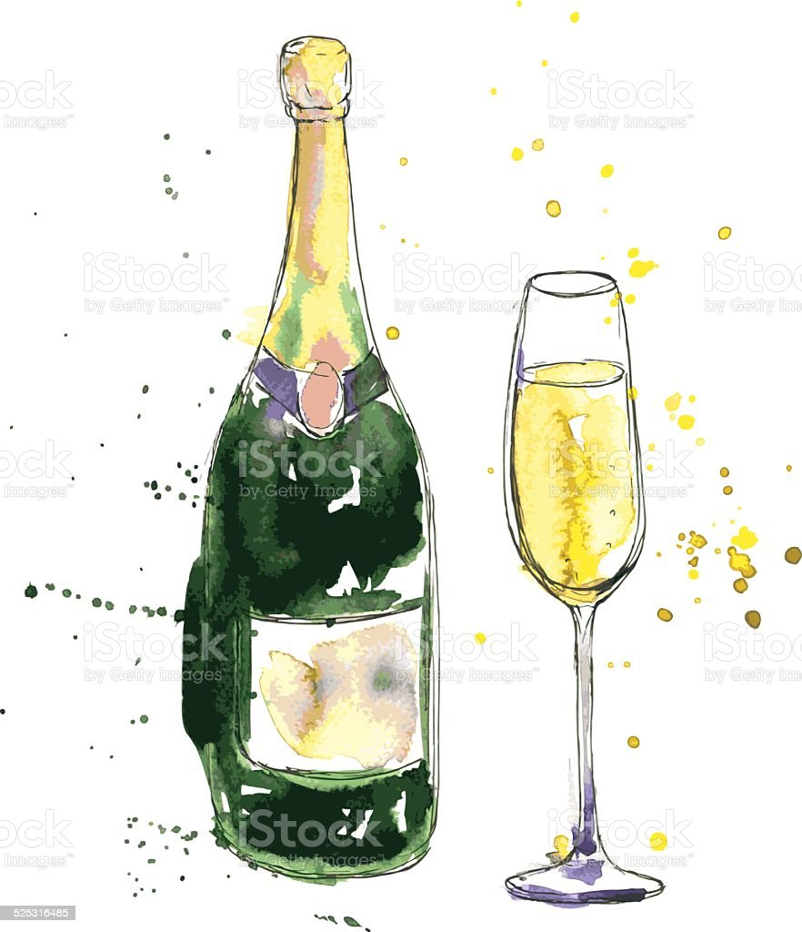 champagne bottle and glass vector art illustration