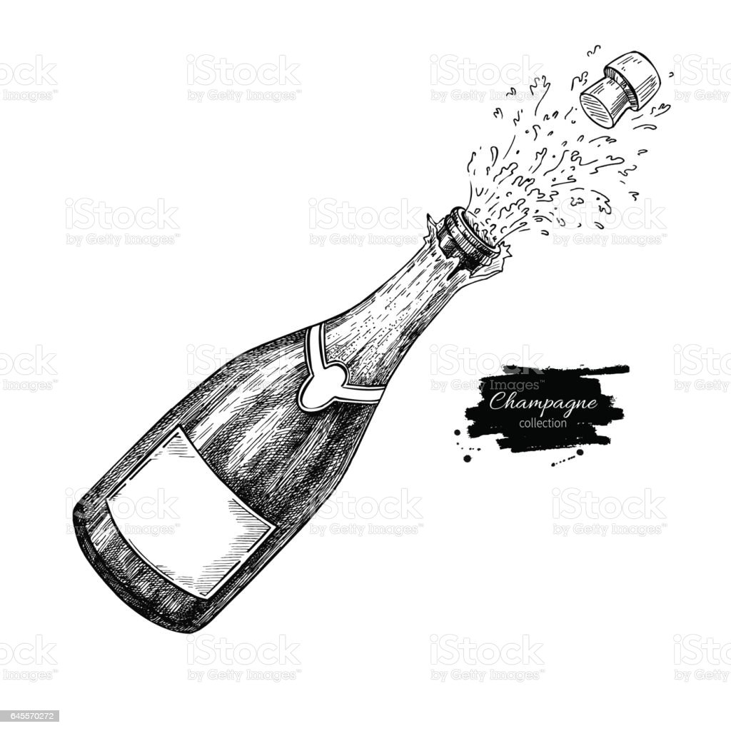 Champagne bottle explosion. Hand drawn isolated vector illustration. Alcohol drink vector art illustration