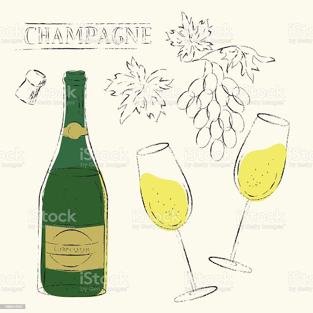 Champagne bottle, flute glasses, wine grapes and cork sketch ill vector art illustration