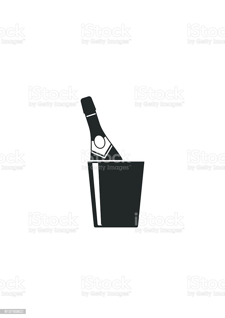 Champagne bottle in a bucket icon isolated on white background. vector art illustration