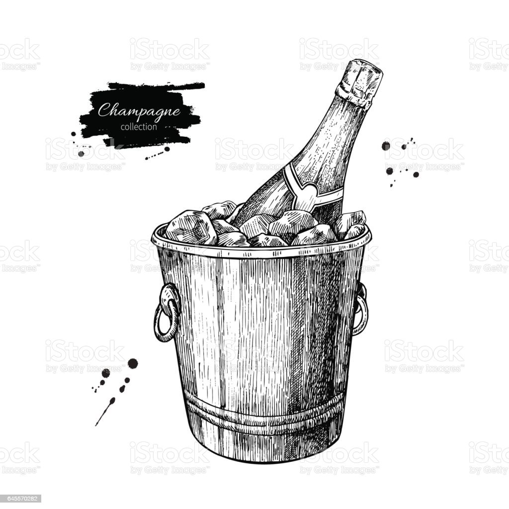 Champagne bottle in ice bucket. Hand drawn isolated vector illustration. Alcohol drink vector art illustration