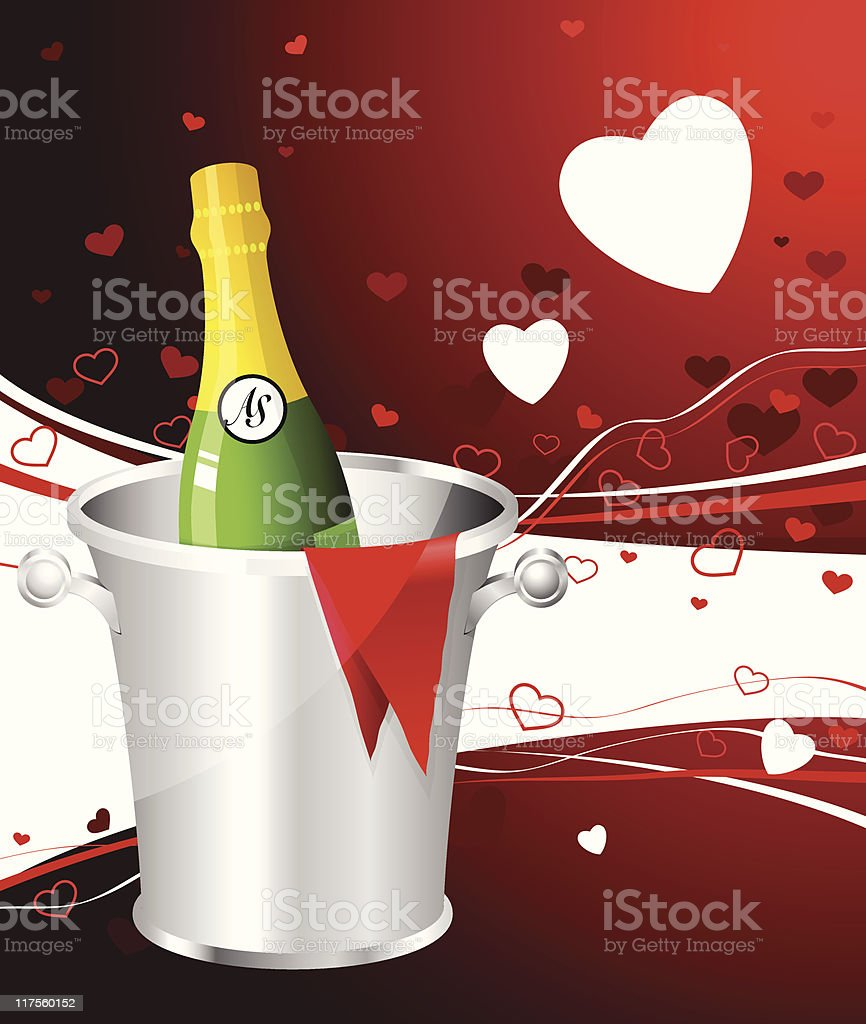 Champagne bottle on red Valentine's Day background royalty-free stock vector art