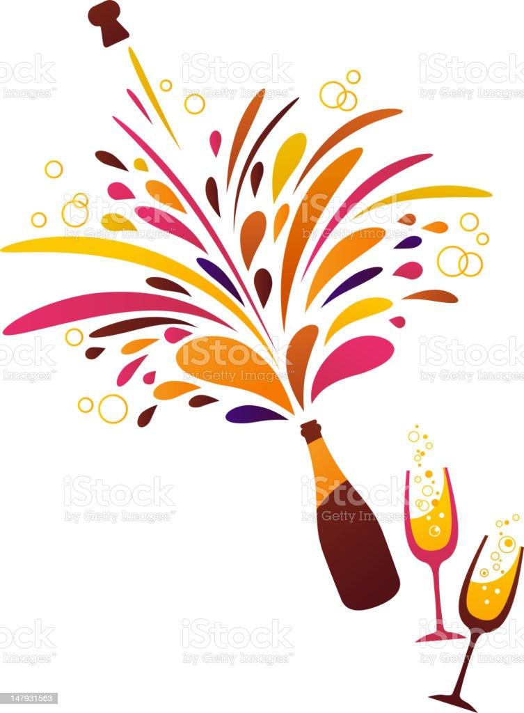 Champagne bottle splash - New Year celebration vector art illustration