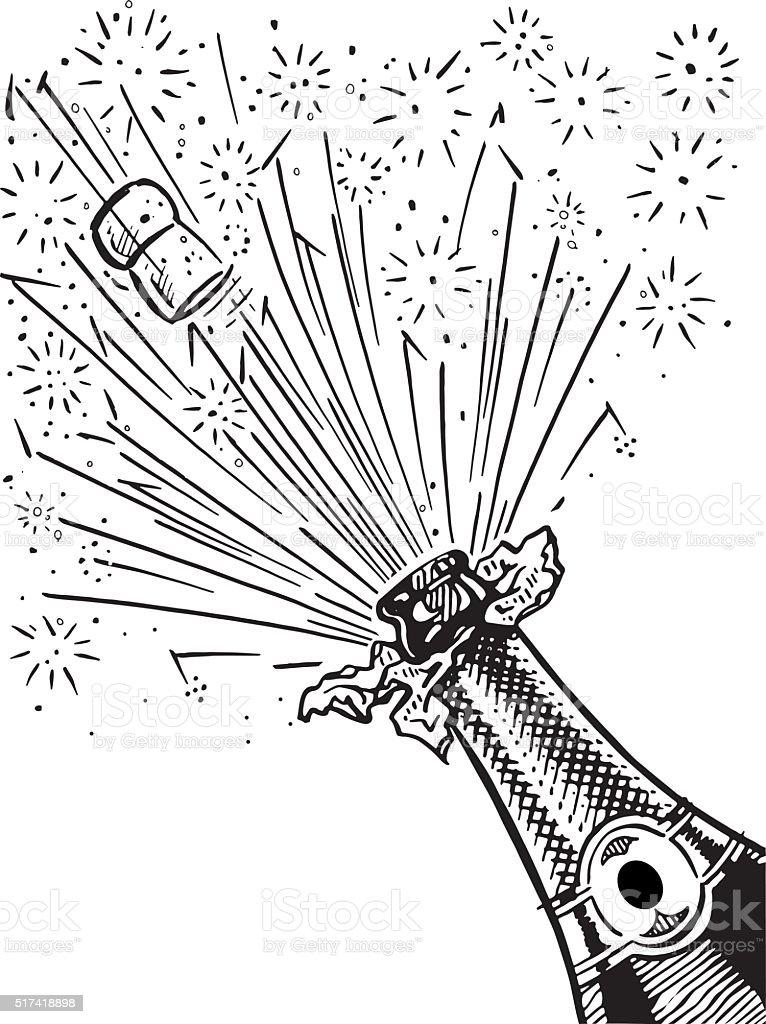 champagne bottle vector art illustration