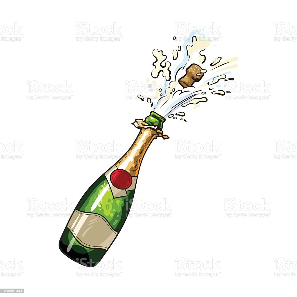 Champagne bottle with cork popping out vector art illustration