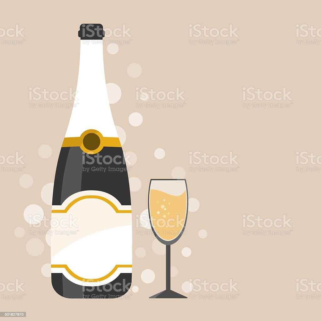 Champagne bottle with decorations vector art illustration