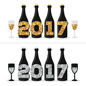 Champagne Bottles with Glittering 2017 Numbers