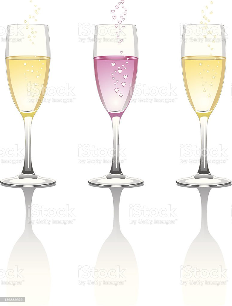 Champagne Bubbles, Hearts and Stars royalty-free stock vector art