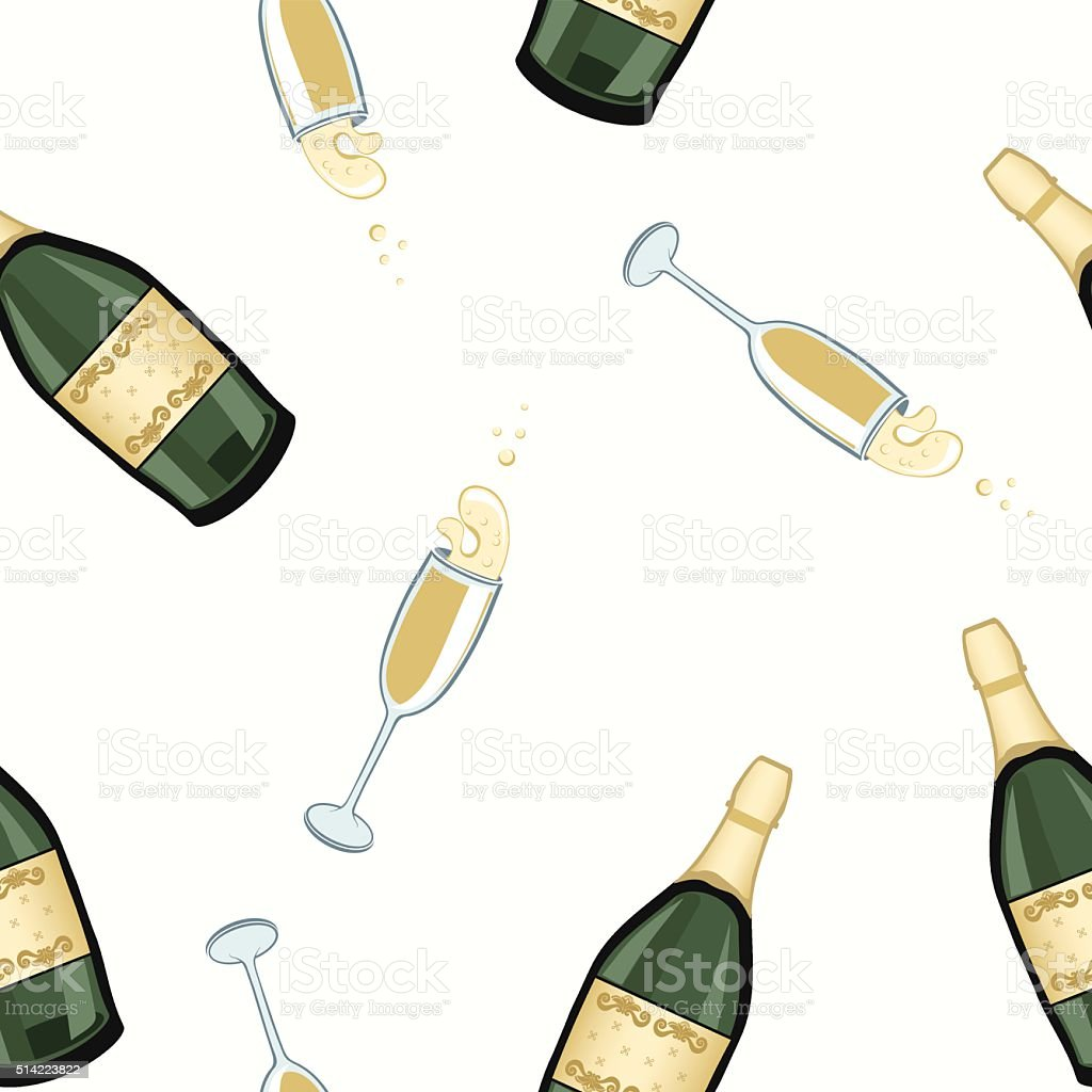 Champagne Celebration Pattern vector art illustration