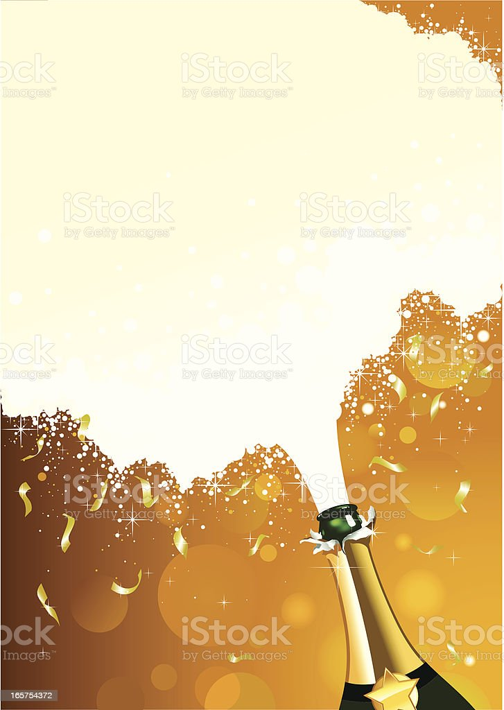 Champagne Celebration with fizz and confetti vector art illustration