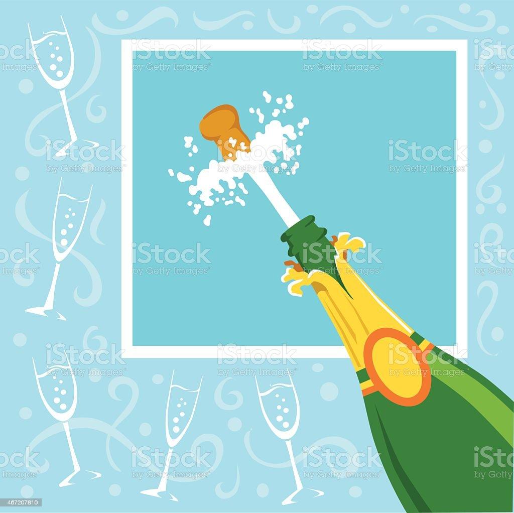 Champagne Celebration With Flying Cork on Blue Background vector art illustration