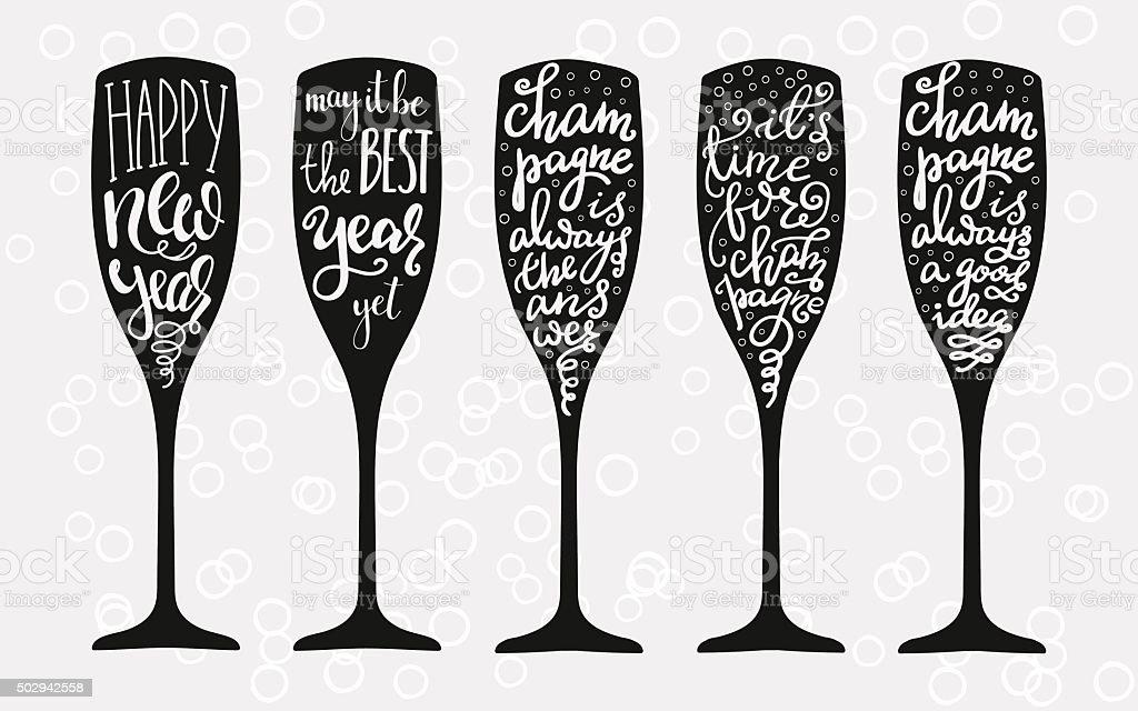 Champagne Christmas or Wedding typography vector art illustration
