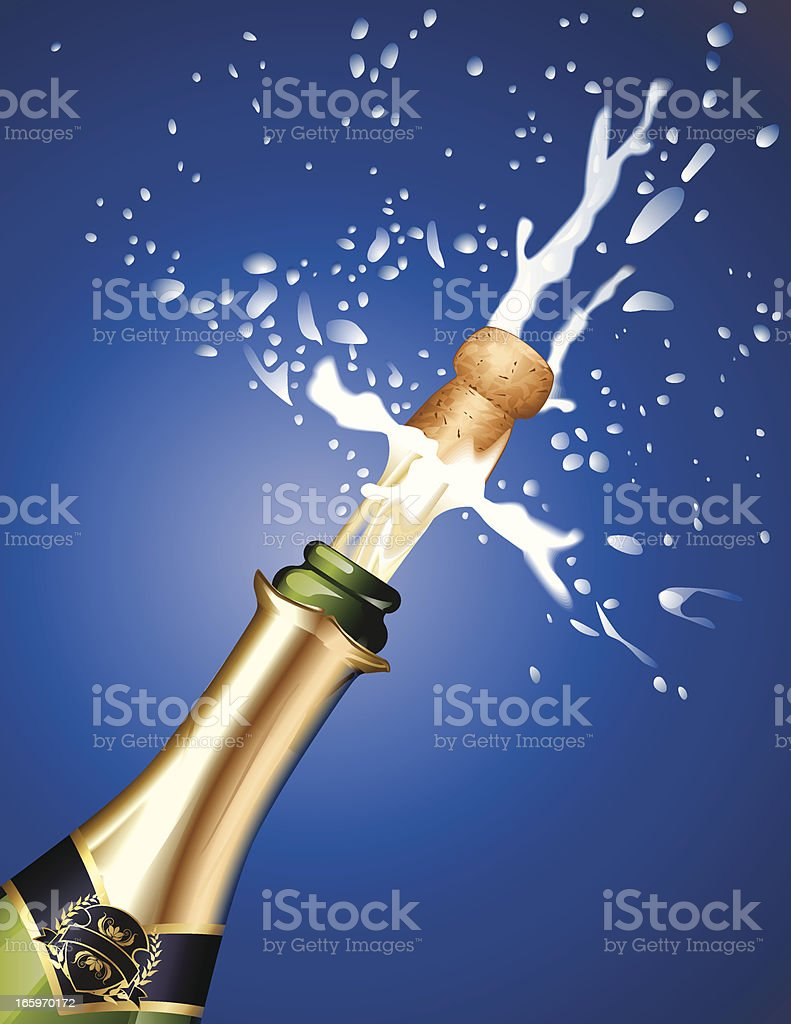Champagne cork being popped against blue background royalty-free stock vector art