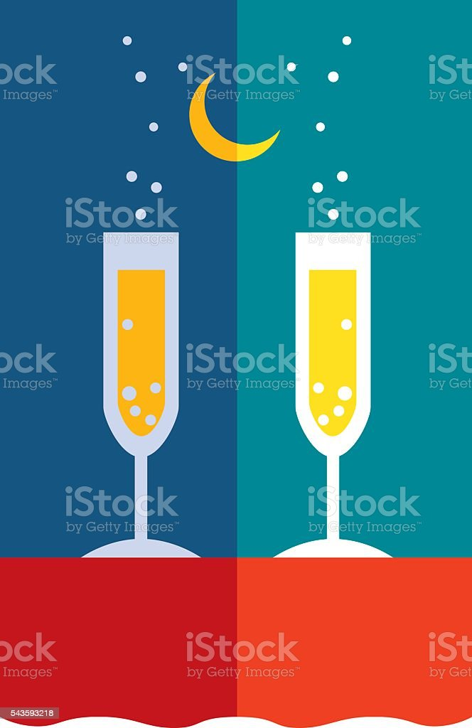 Champagne Evening vector art illustration