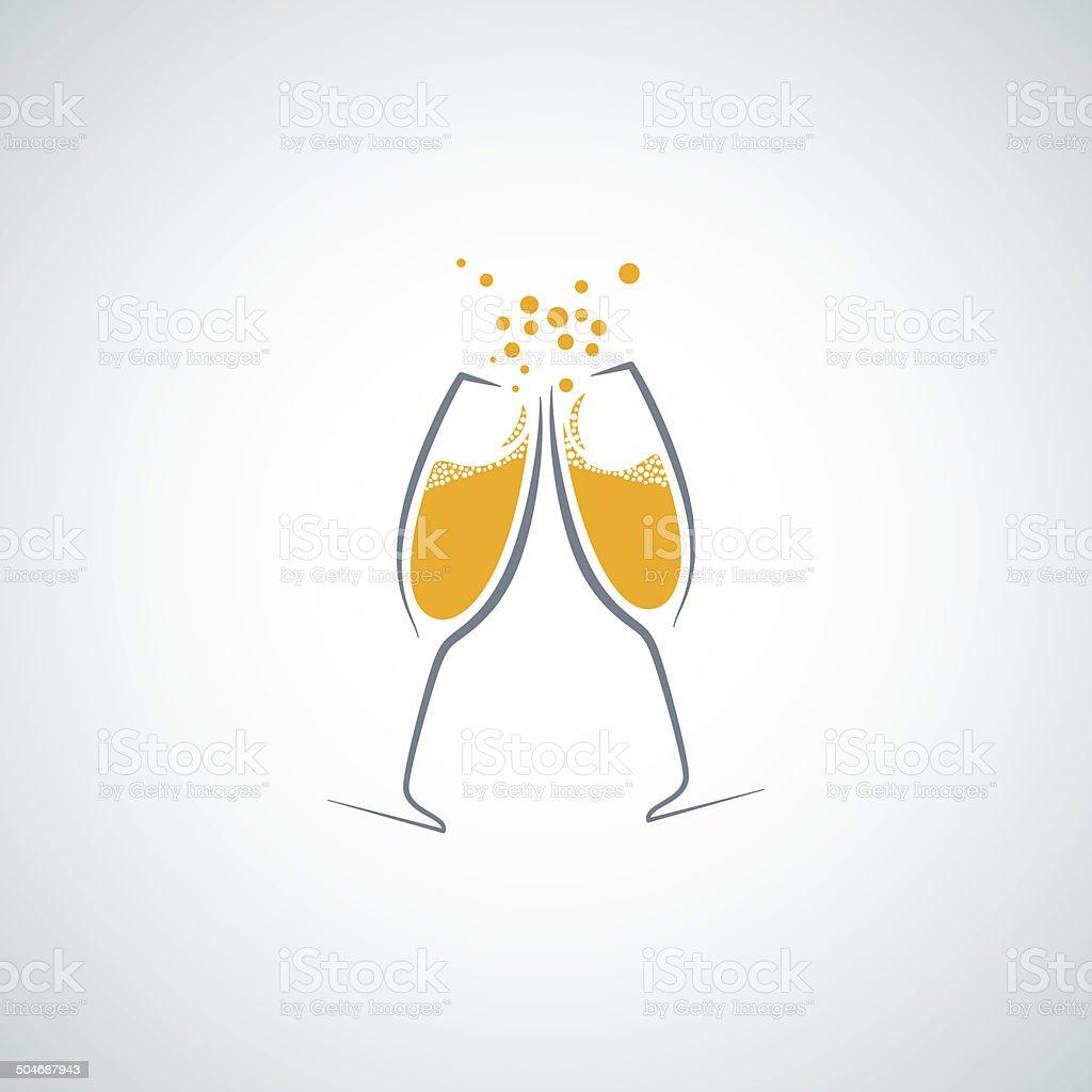 champagne glass background vector art illustration