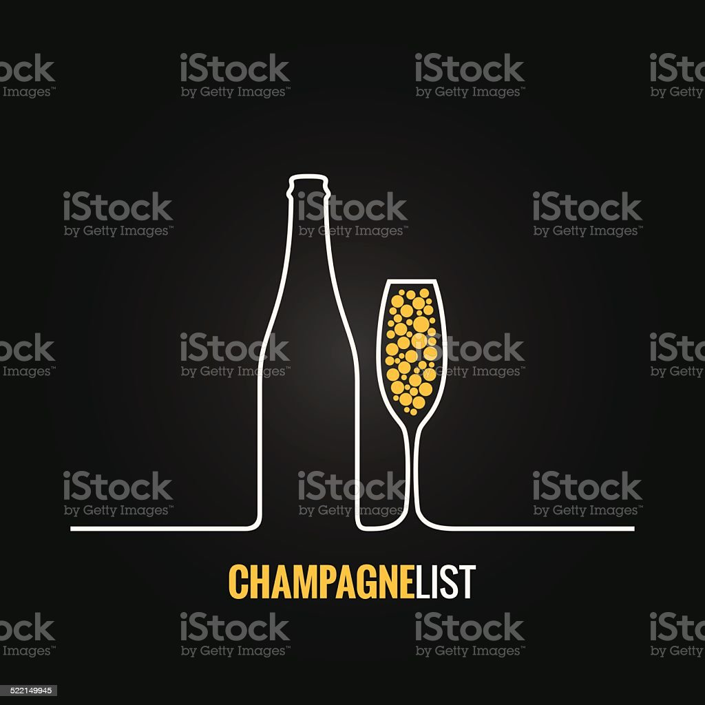 champagne glass bottle menu background vector art illustration