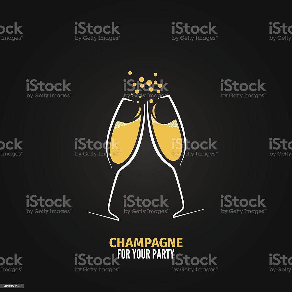 champagne glass design party menu background vector art illustration