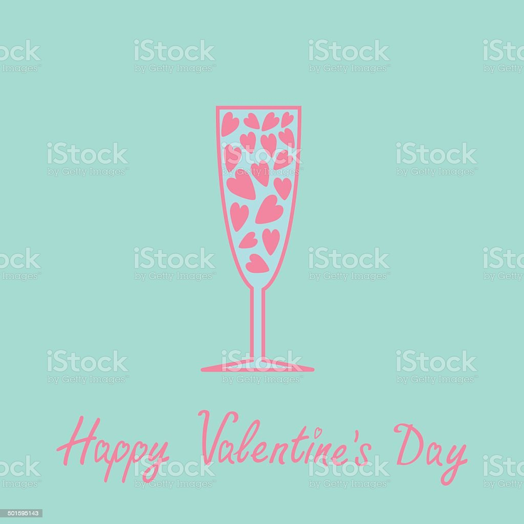 Champagne glass with hearts inside. Blue and pink. Card vector art illustration