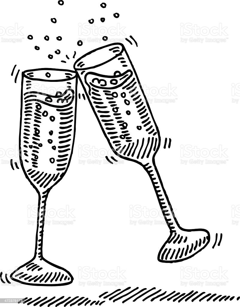 Champagne Glasses Cheers Drawing vector art illustration