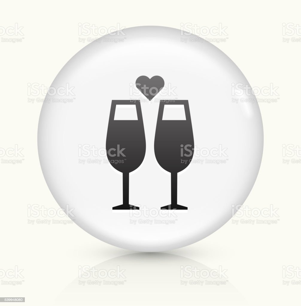 Champagne Glasses icon on white round vector button vector art illustration
