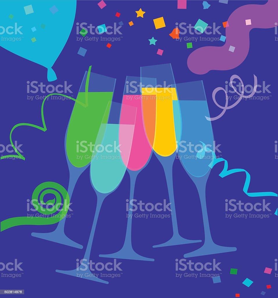 Champagne glasses vector art illustration