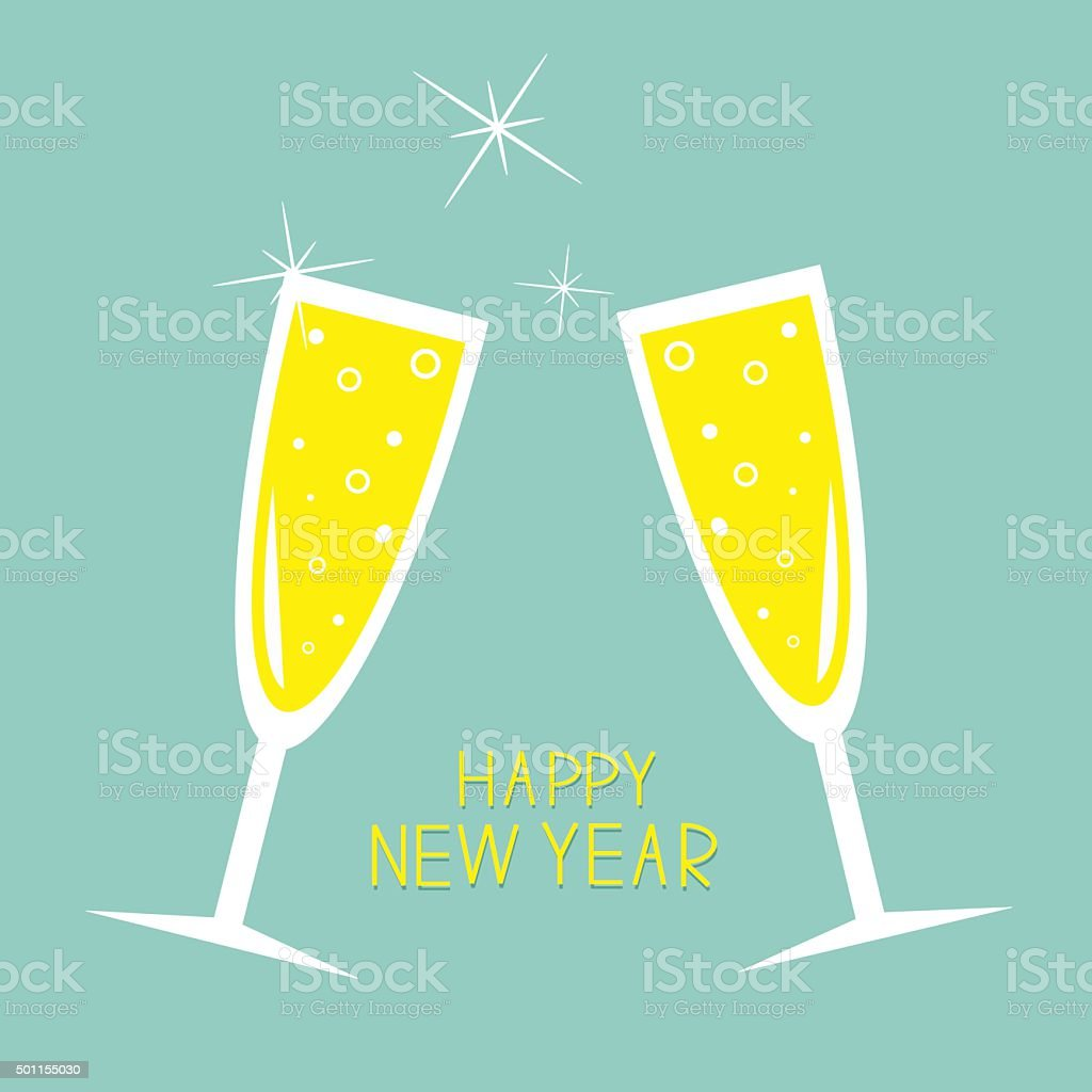 Champagne glasses with sparkles. Greeting Card. New Year. Flat Blue vector art illustration
