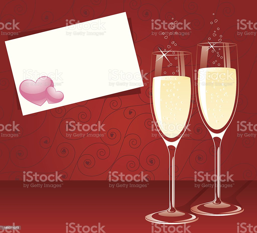Champagne Hearts vector art illustration