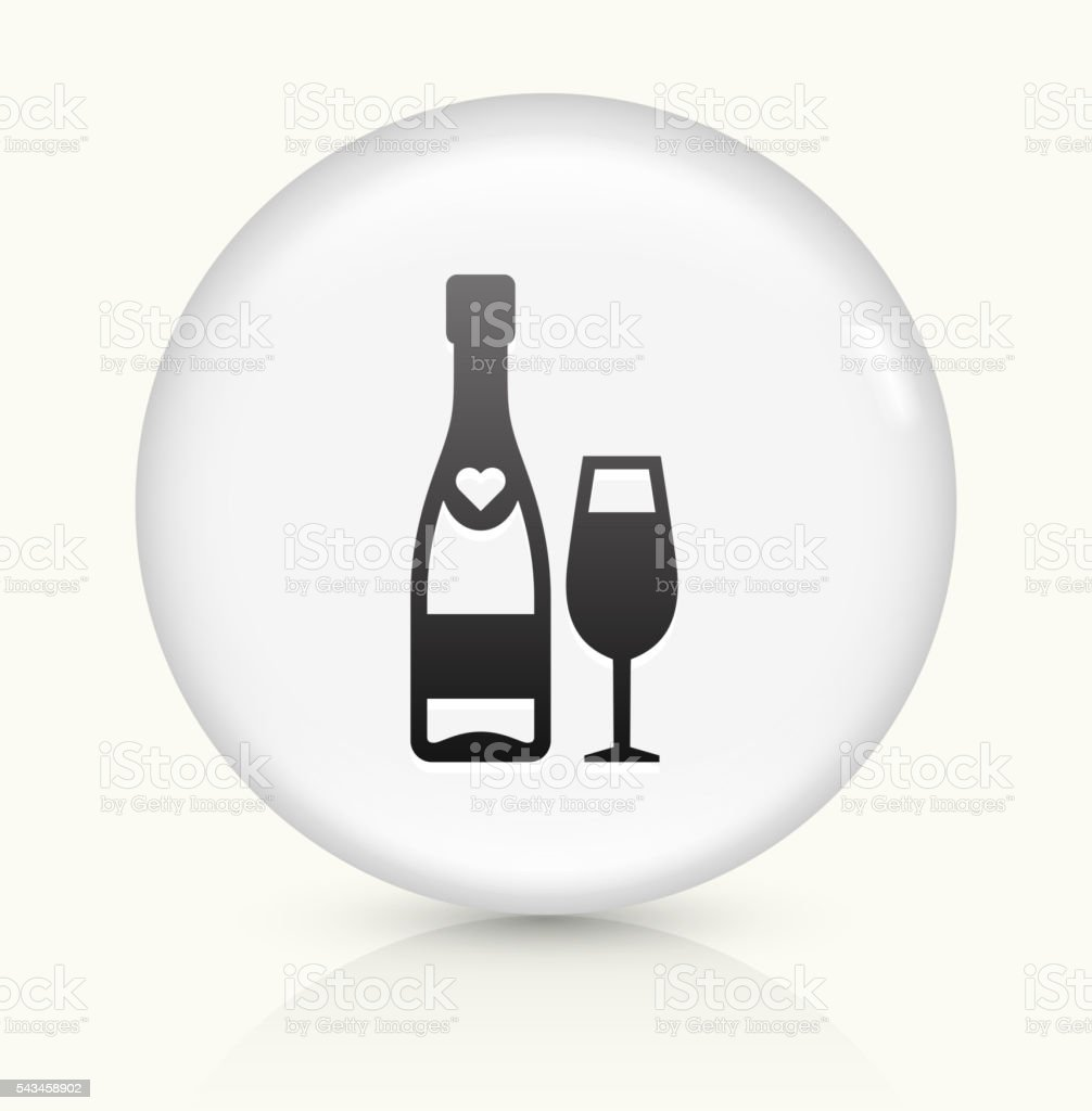 Champagne icon on white round vector button vector art illustration