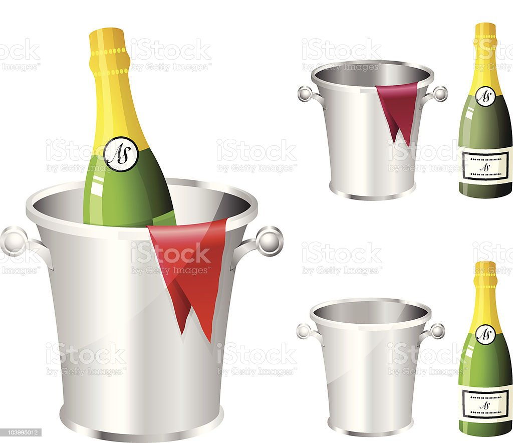 Champagne in silver metalic ice bucket royalty-free stock vector art