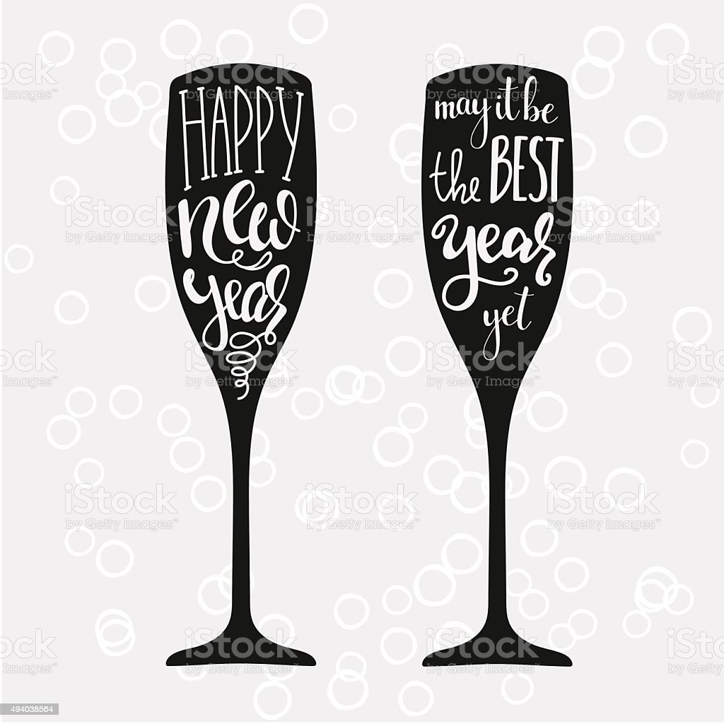 Champagne New Years lettering vector art illustration