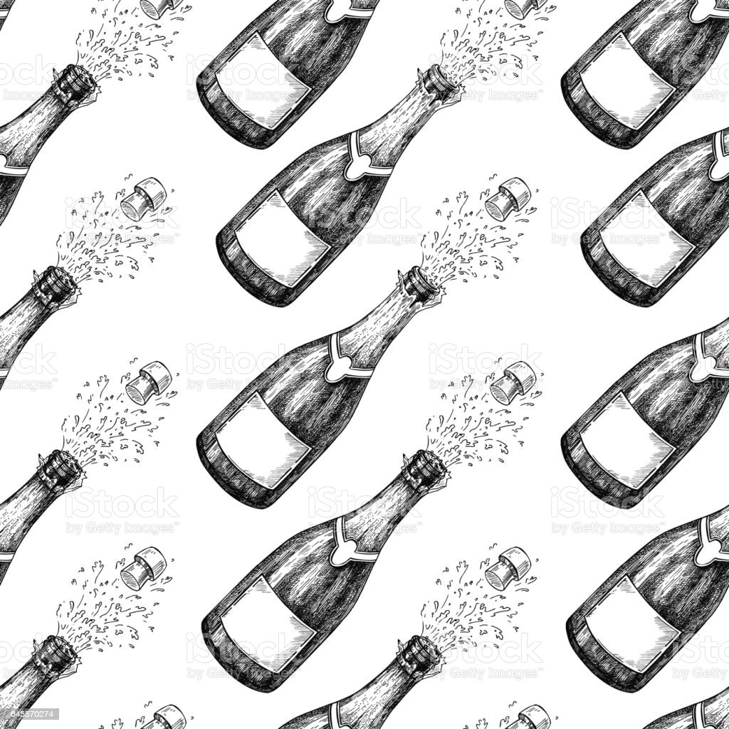 Champagne seamless pattern. Bottle explosion. Hand drawn isolated vector vector art illustration