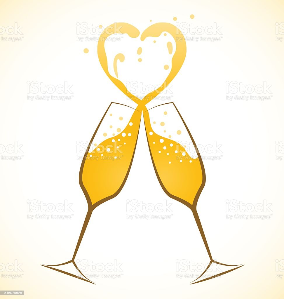 Champagne Toast and Love vector art illustration