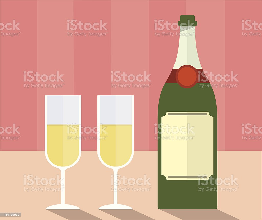 Champagne with glasses royalty-free stock vector art
