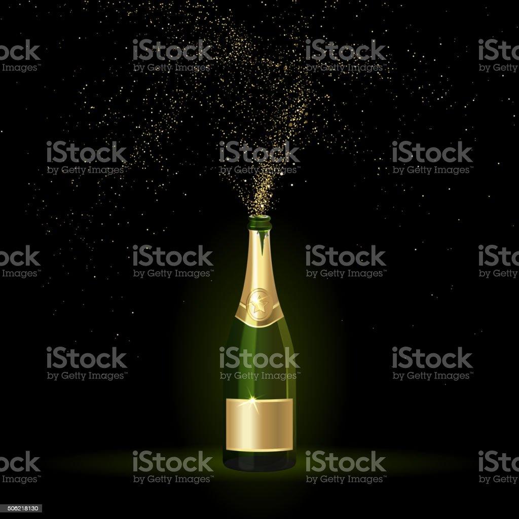Champagne with Gold Confetti vector art illustration