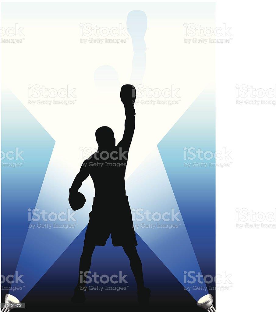 champion boxer celebrates victory vector art illustration