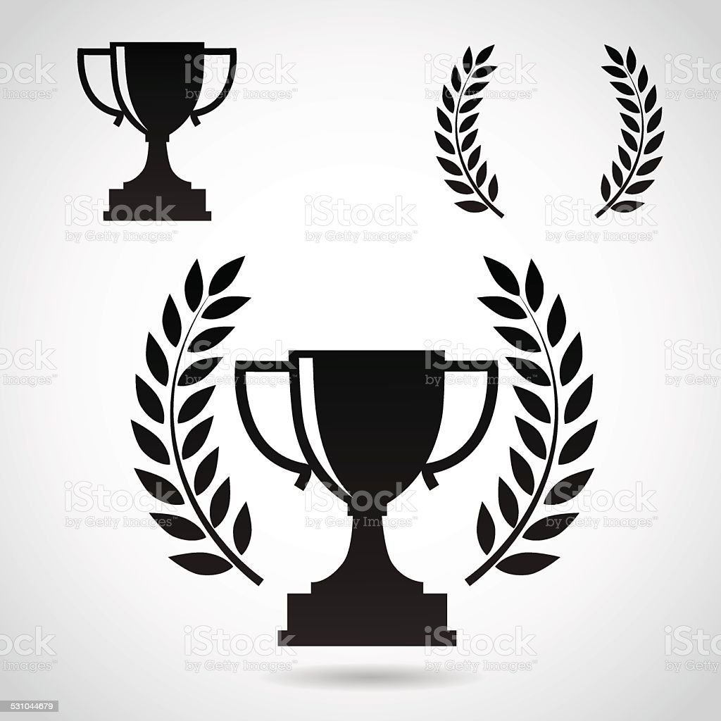 Champion cup icon set isolated on white background. vector art illustration