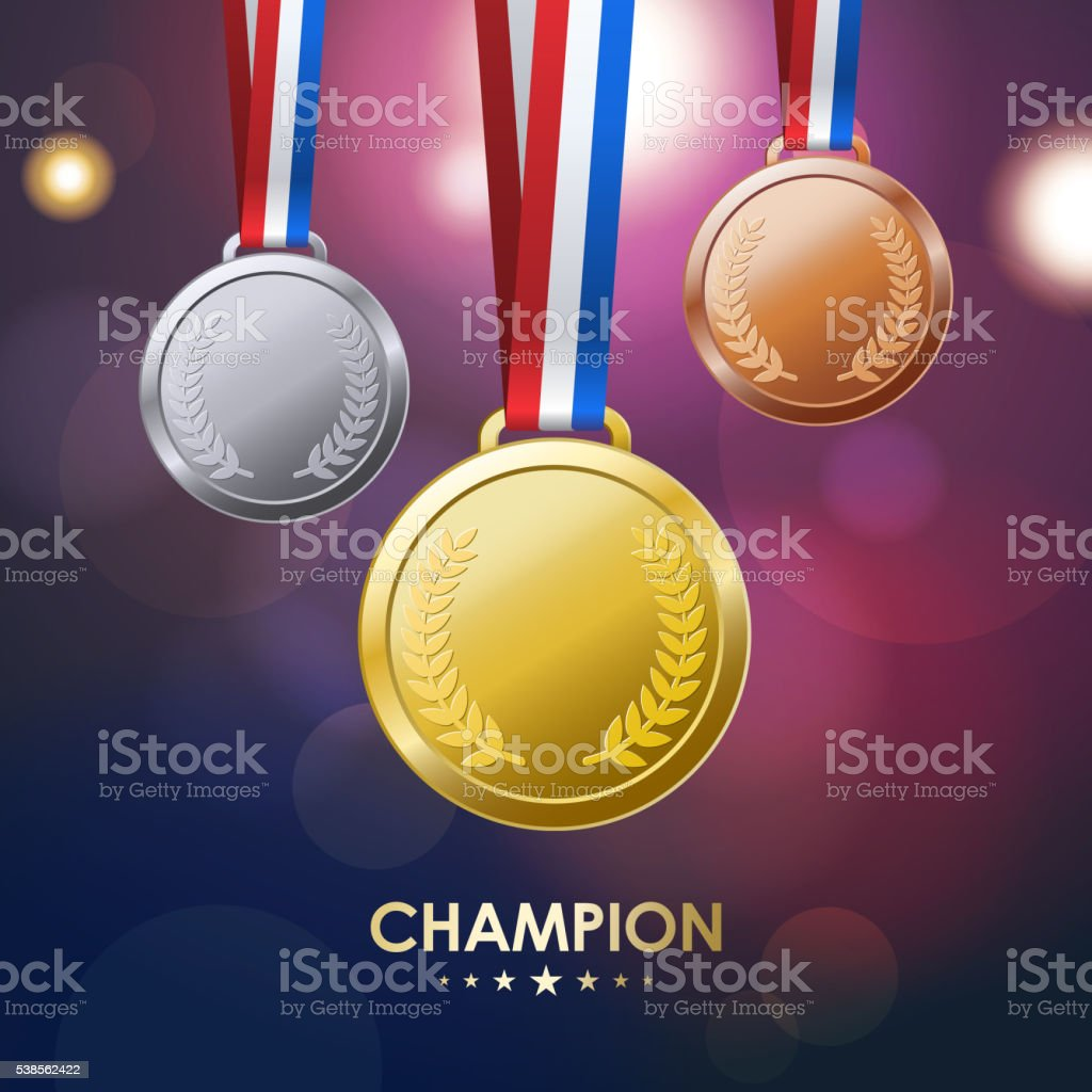 Champion Medals vector art illustration