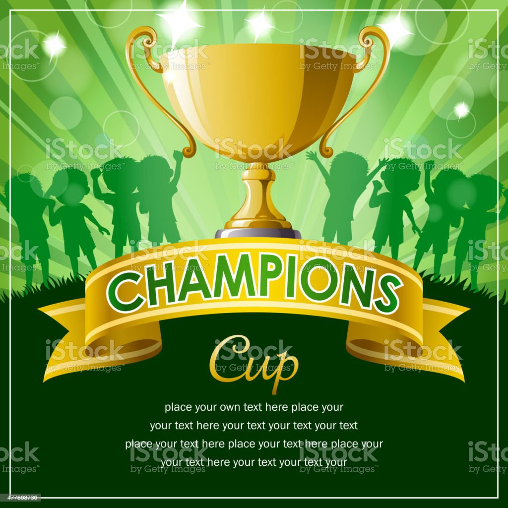 Champions cup and banner vector art illustration