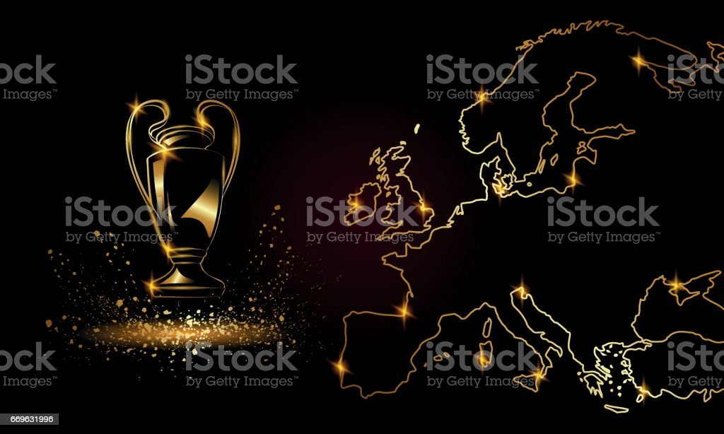 Champions Cup with a linear map. Golden Soccer trophy. vector art illustration