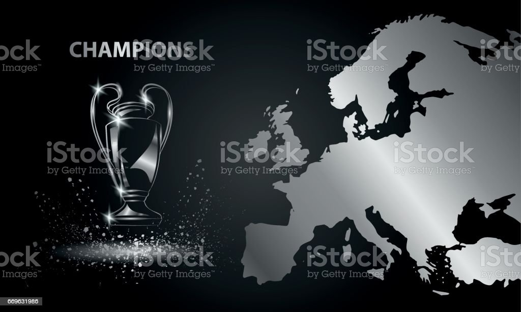 Champions Cup with a map. Chromed Soccer trophy. vector art illustration