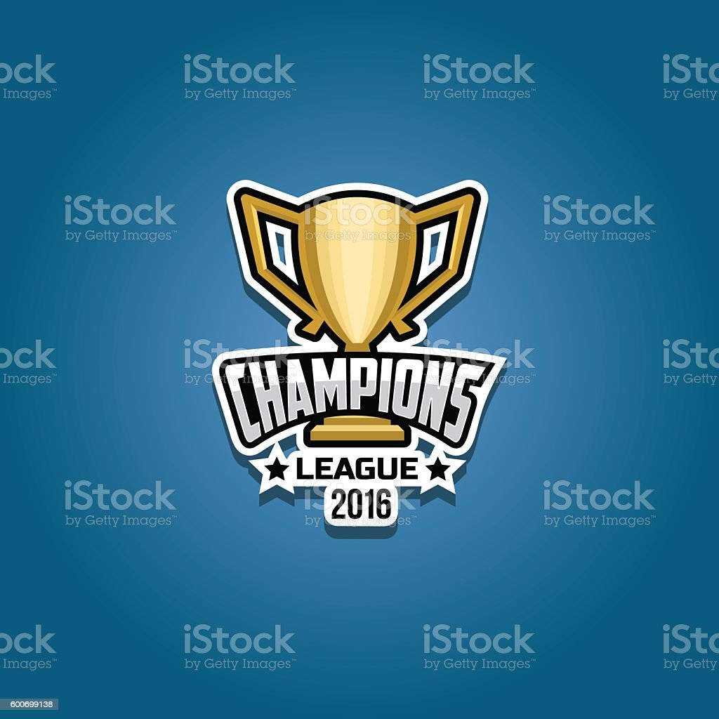 Champions league logo gold vector art illustration