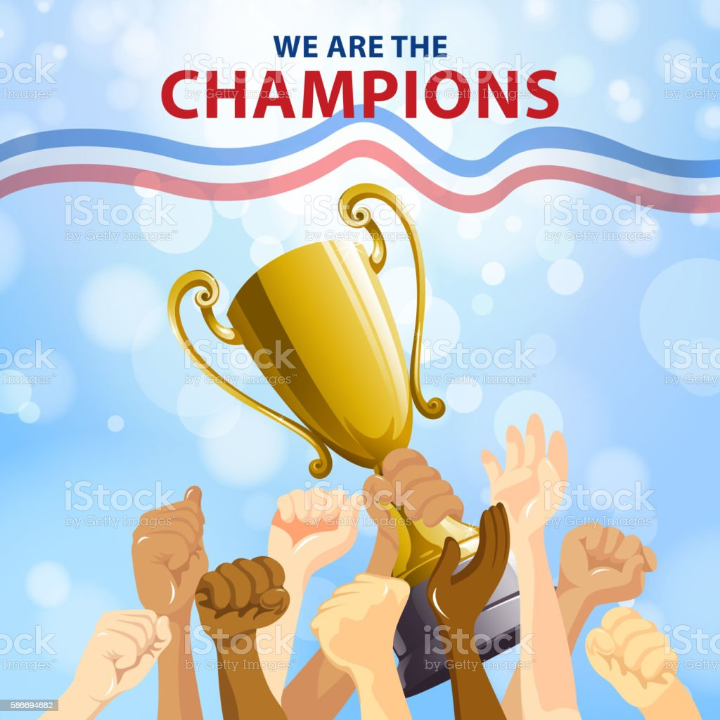 Champions Team Celebration vector art illustration