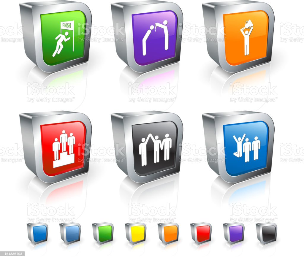 Championship 3D royalty free vector icon set with Metal Rim royalty-free stock vector art