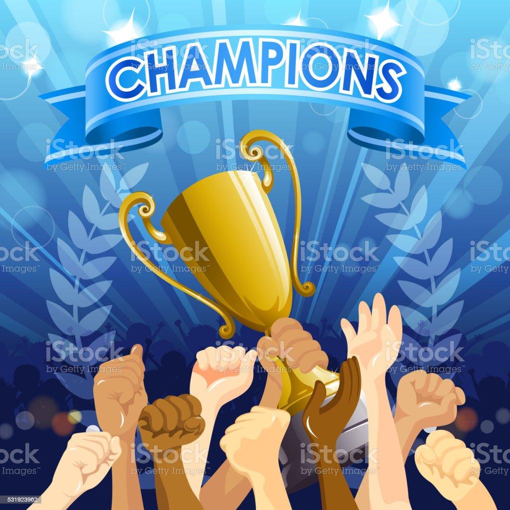 Championship Celebration vector art illustration
