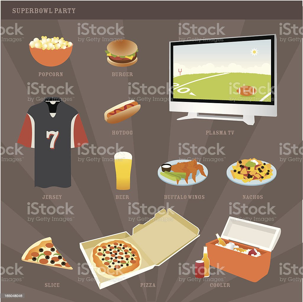 Superbowl Party Icons vector art illustration