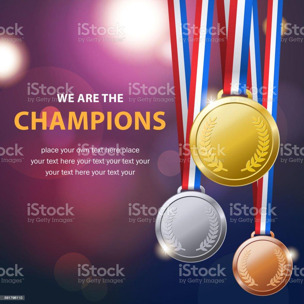 Championship Medal Set vector art illustration