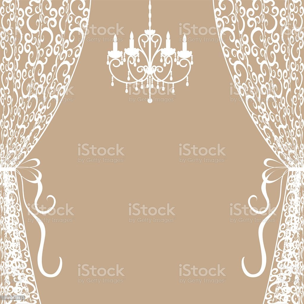 chandelier and curtains vector art illustration