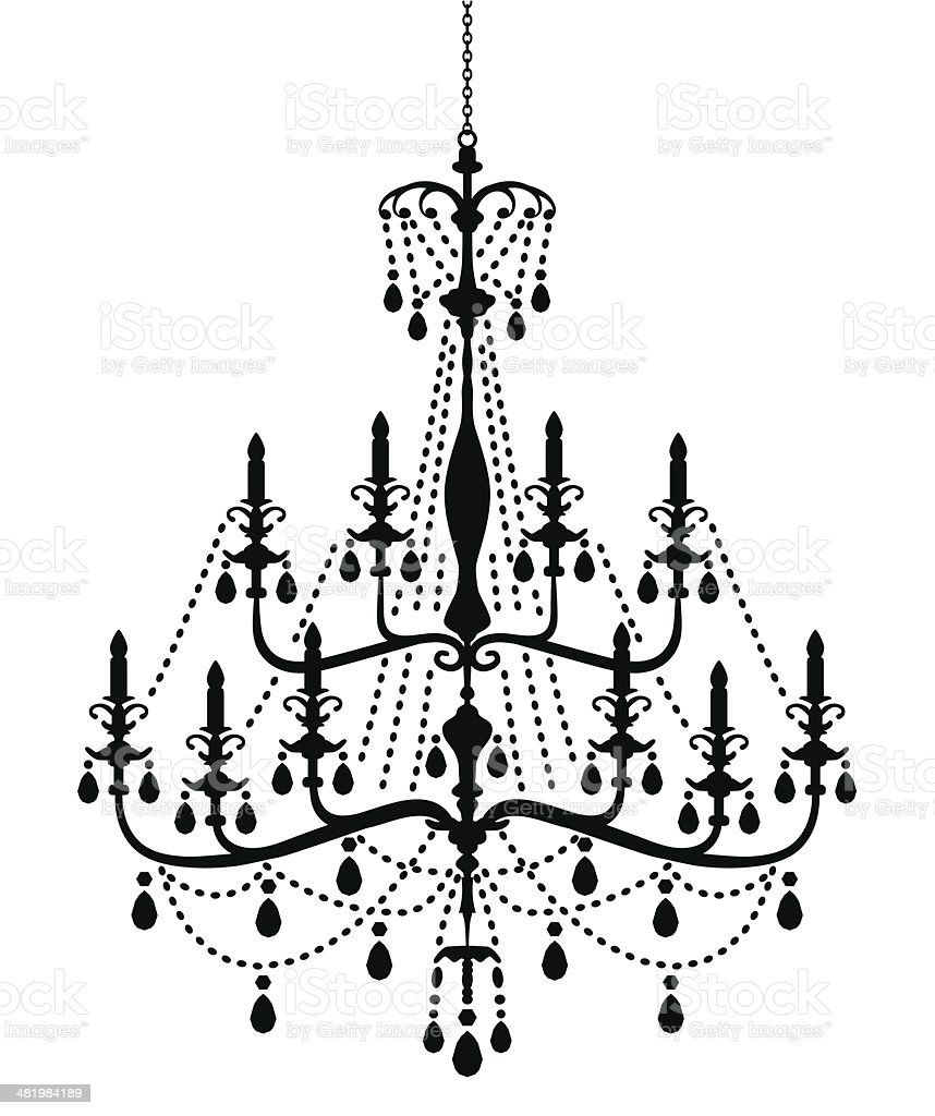 Chandelier Silhouette in Victorian Style royalty-free stock vector art