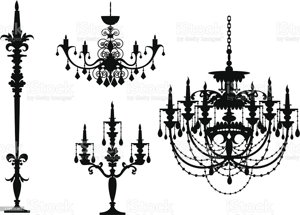 Chandelier-sihouette royalty-free stock vector art