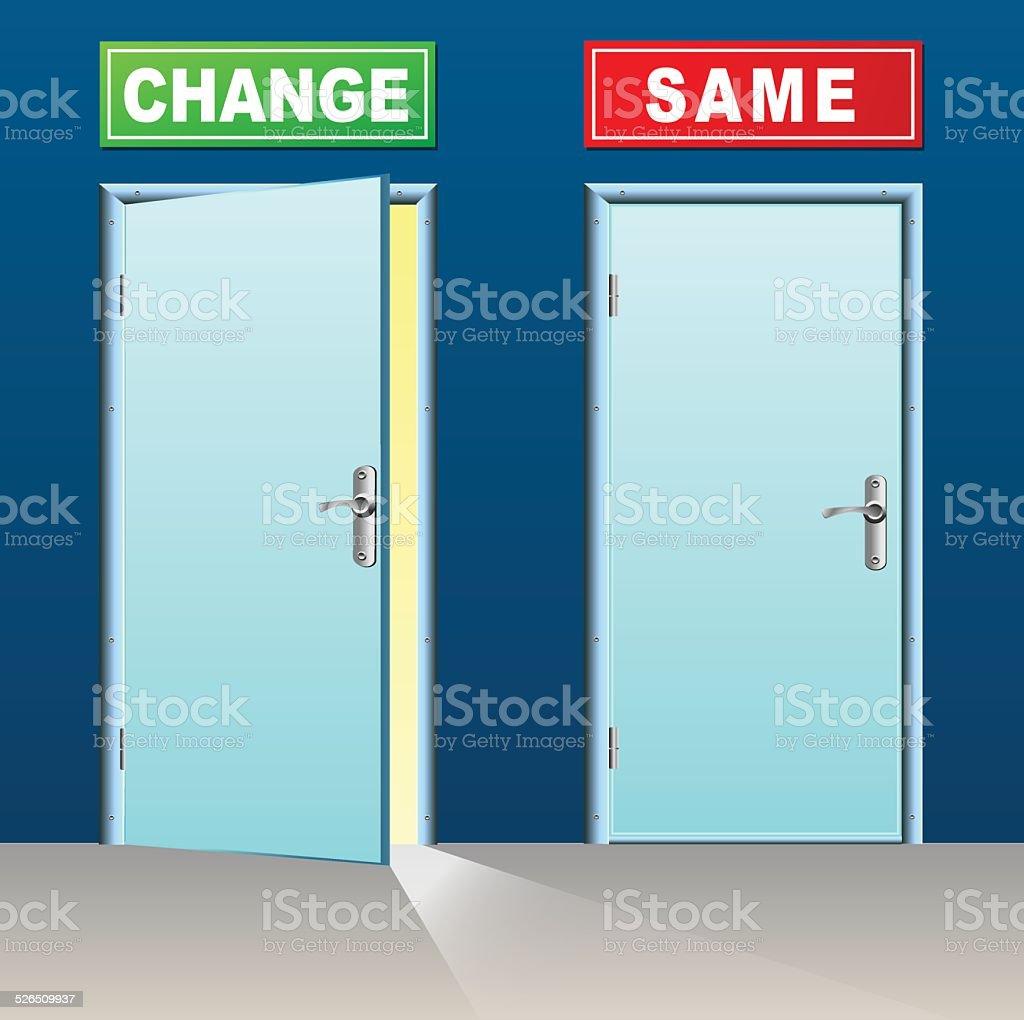 change and same doors vector art illustration